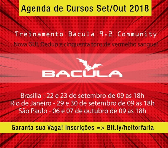 Cursos Bacula 9.2 Community Set/Out 2018