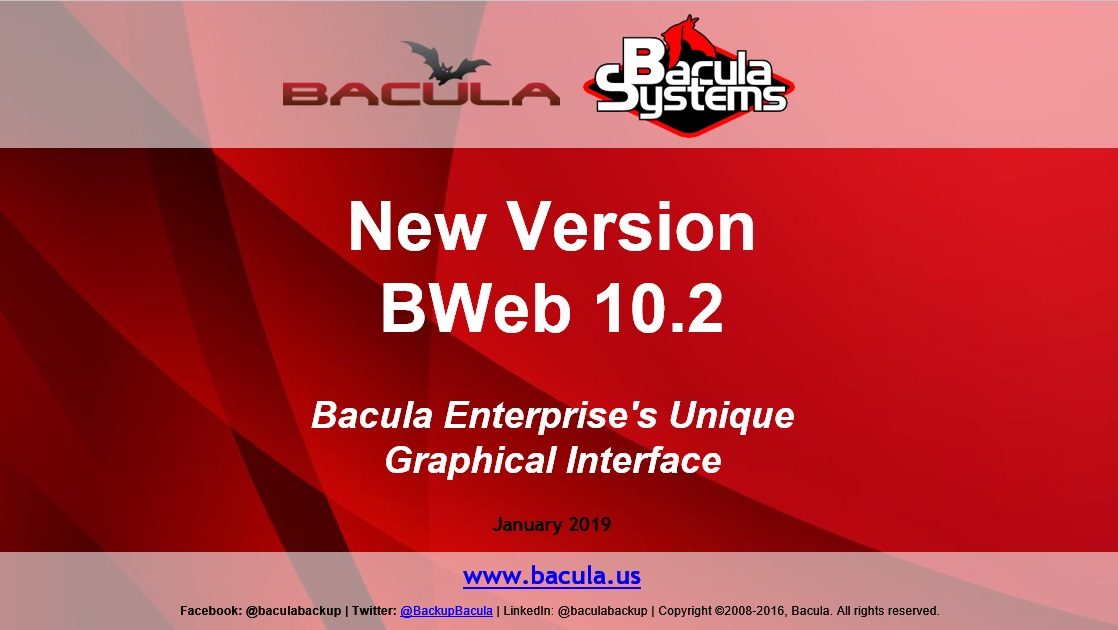 New BWeb 10.2 Version